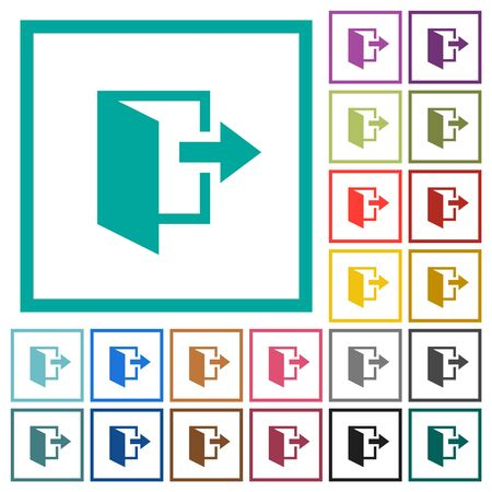 Leave flat color icons with quadrant frames on white background