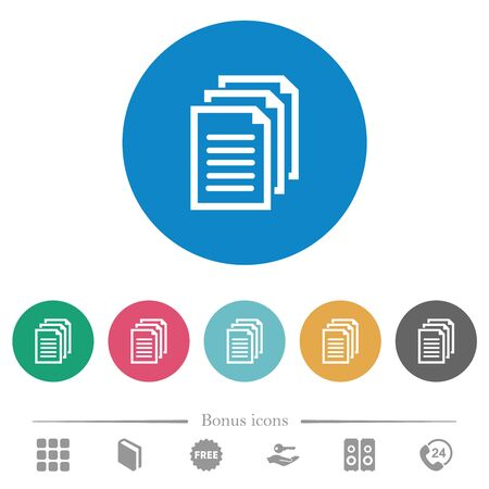 Multiple documents flat white icons on round color backgrounds. 6 bonus icons included.