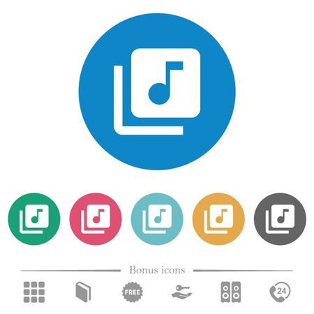 Music library flat white icons on round color backgrounds. 6 bonus icons included.