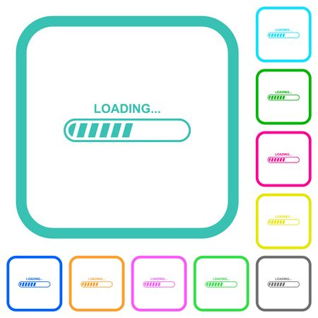 Loading vivid colored flat icons in curved borders on white background Ilustração