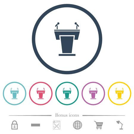 Conference podium with microphones flat color icons in round outlines. 6 bonus icons included.