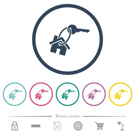 House key flat color icons in round outlines. 6 bonus icons included.