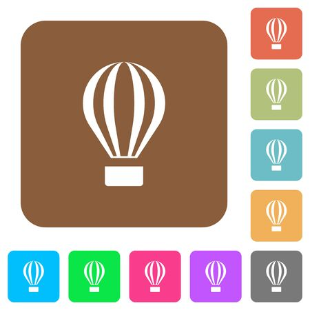 Air balloon flat icons on rounded square vivid color backgrounds.