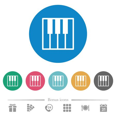 Piano keyboard flat white icons on round color backgrounds. 6 bonus icons included.