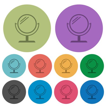 Desk mirror with reflection darker flat icons on color round background