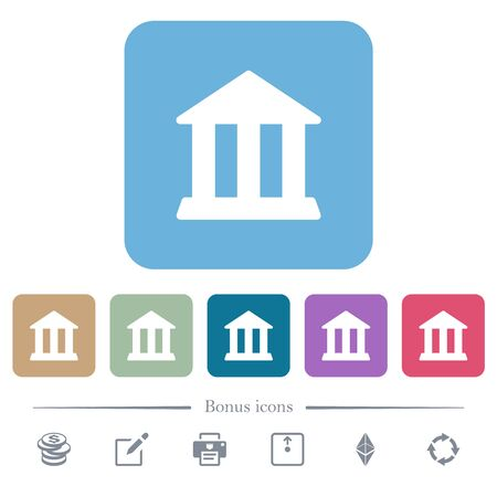 Bank office building white flat icons on color rounded square backgrounds. 6 bonus icons included
