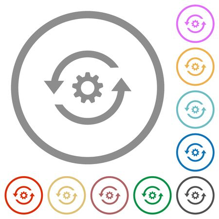 Refresh settings flat color icons in round outlines on white background