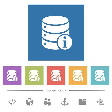 Database info flat white icons in square backgrounds. 6 bonus icons included. Ilustração