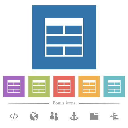 Spreadsheet horizontally merge table cells flat white icons in square backgrounds. 6 bonus icons included.
