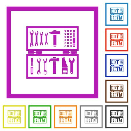 Open toolbox flat color icons in square frames on white background Ilustrace