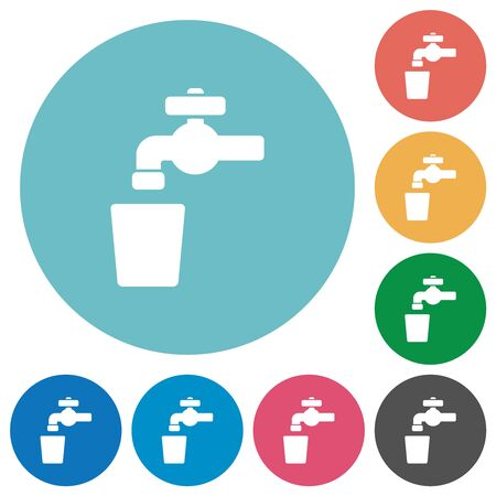 Drinking water flat white icons on round color backgrounds