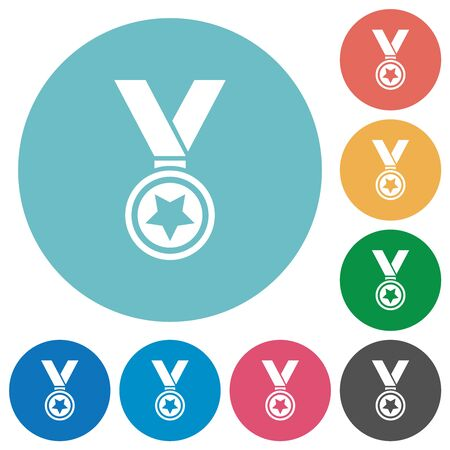 Medal with star flat white icons on round color backgrounds