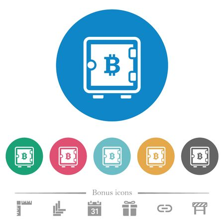 Bitcoin strong box flat white icons on round color backgrounds. 6 bonus icons included.