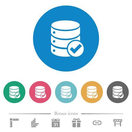 Database ok flat white icons on round color backgrounds. 6 bonus icons included.
