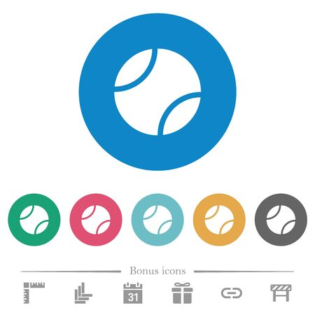 Tennis ball flat white icons on round color backgrounds. 6 bonus icons included.