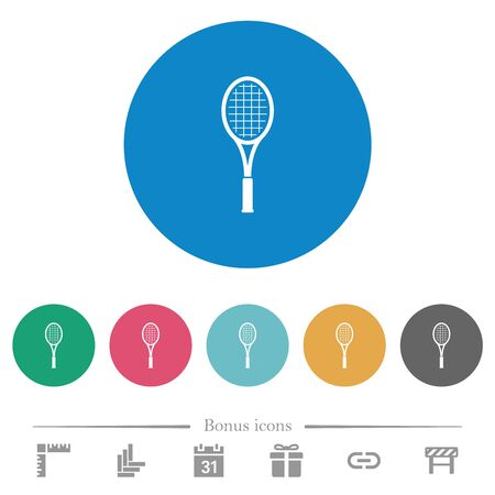 Single tennis racket flat white icons on round color backgrounds. 6 bonus icons included.