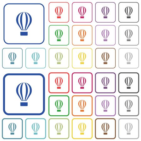 Air balloon color flat icons in rounded square frames. Thin and thick versions included.