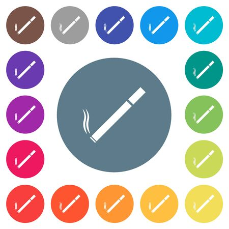 Cigarette flat white icons on round color backgrounds. 17 background color variations are included.