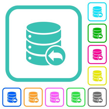 Database transaction rollback vivid colored flat icons in curved borders on white background