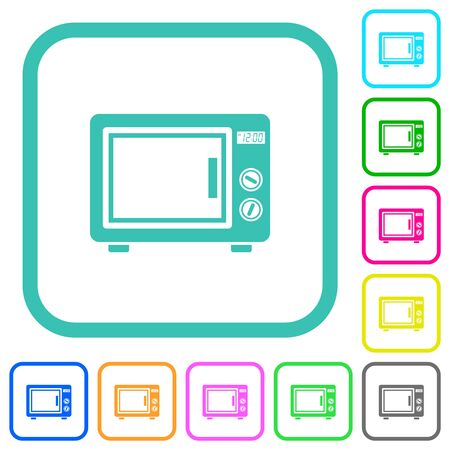 Microwave oven vivid colored flat icons in curved borders on white background