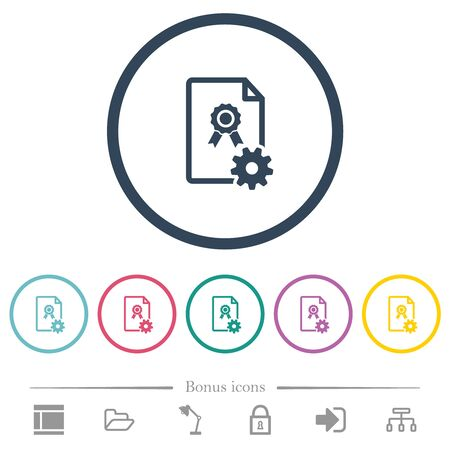 Generating certificate flat color icons in round outlines. 6 bonus icons included.