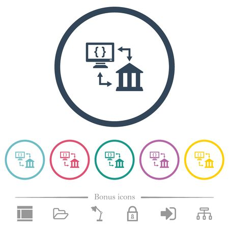 Open banking API flat color icons in round outlines. 6 bonus icons included.