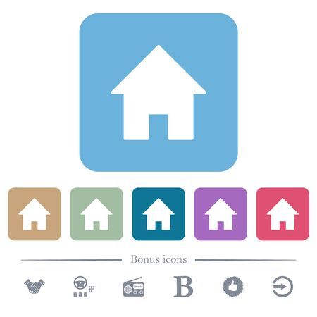 Home white flat icons on color rounded square backgrounds. 6 bonus icons included