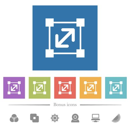Resize element flat white icons in square backgrounds. 6 bonus icons included.