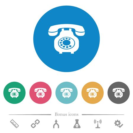 Vintage retro telephone flat white icons on round color backgrounds. 6 bonus icons included.