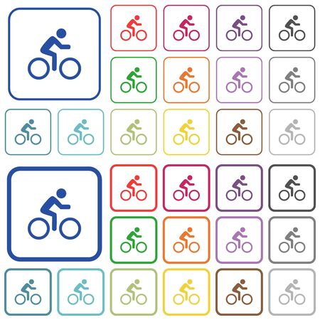 Bicycle with rider color flat icons in rounded square frames. Thin and thick versions included. Ilustrace