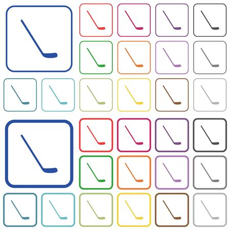 Ice hockey stick color flat icons in rounded square frames. Thin and thick versions included.