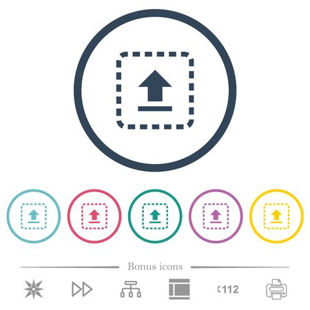 Drag to upload flat color icons in round outlines. 6 bonus icons included. 일러스트