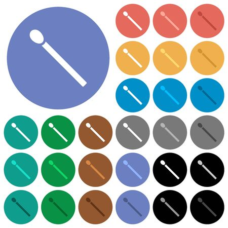 Matchstick multi colored flat icons on round backgrounds. Included white, light and dark icon variations for hover and active status effects, and bonus shades.