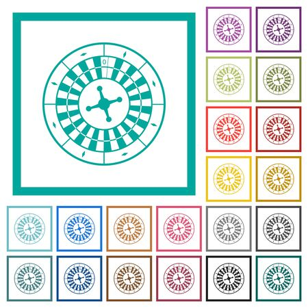 Roulette wheel flat color icons with quadrant frames on white background