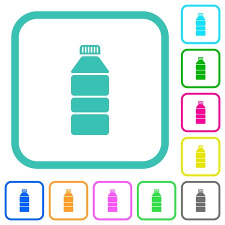 Water bottle vivid colored flat icons in curved borders on white background Banco de Imagens - 139570482