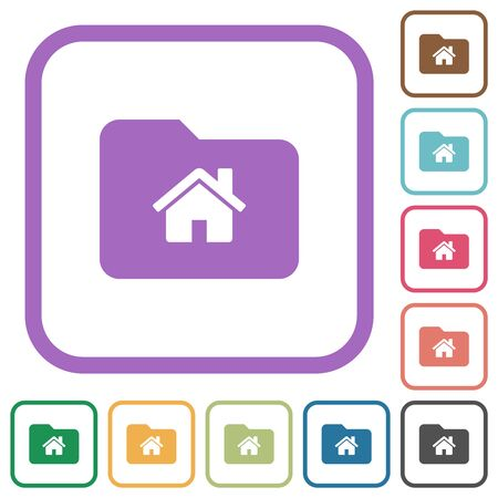 Home folder simple icons in color rounded square frames on white background