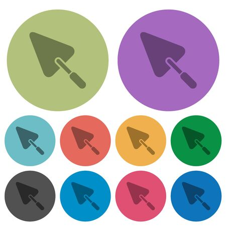 Trowel darker flat icons on color round background