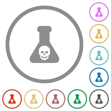 Dangerous chemical experiment flat color icons in round outlines on white background