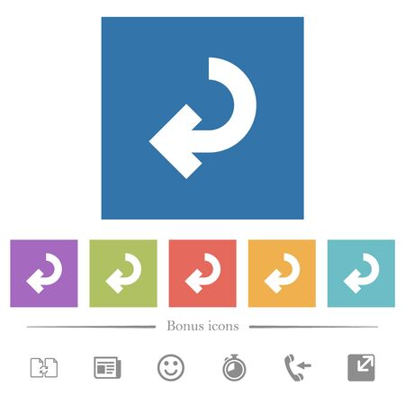 Return arrow flat white icons in square backgrounds. 6 bonus icons included.