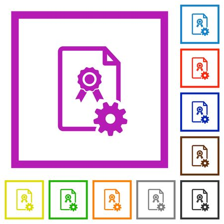 Generating certificate flat color icons in square frames on white background