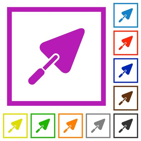Trowel flat color icons in square frames on white background