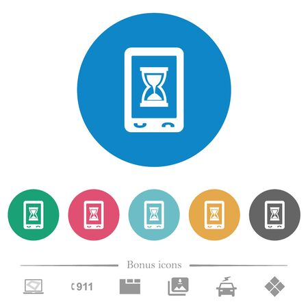 Mobile working flat white icons on round color backgrounds. 6 bonus icons included.