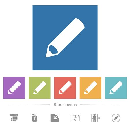Pencil flat white icons in square backgrounds. 6 bonus icons included. Ilustração