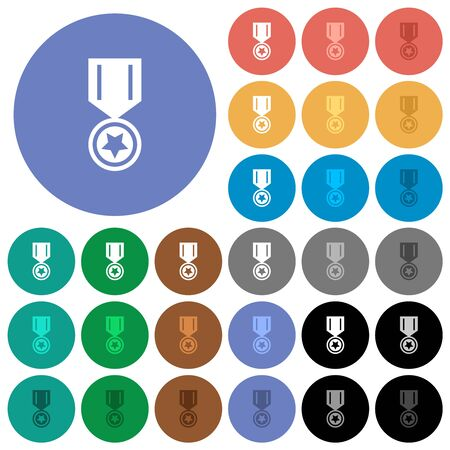 Medal with star multi colored flat icons on round backgrounds. Included white, light and dark icon variations for hover and active status effects, and bonus shades.