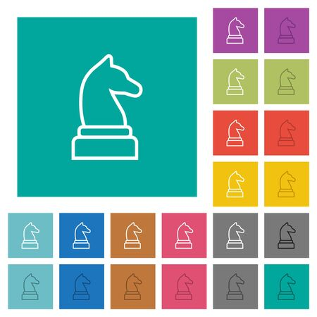 White chess knight multi colored flat icons on plain square backgrounds. Included white and darker icon variations for hover or active effects.