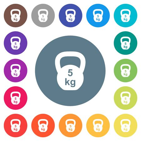 Kettlebel 5 Kg flat white icons on round color backgrounds. 17 background color variations are included.