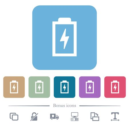 Battery with energy symbol white flat icons on color rounded square backgrounds. 6 bonus icons included