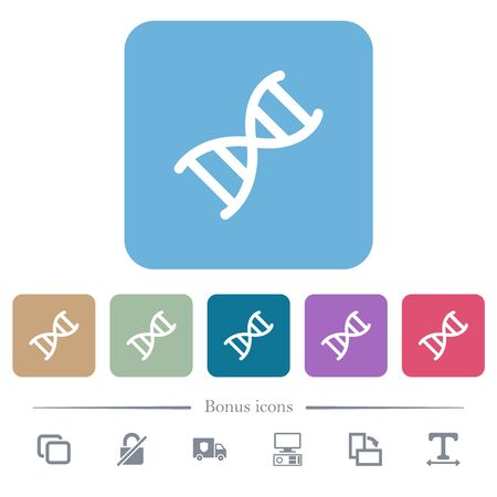 DNA molecule white flat icons on color rounded square backgrounds. 6 bonus icons included