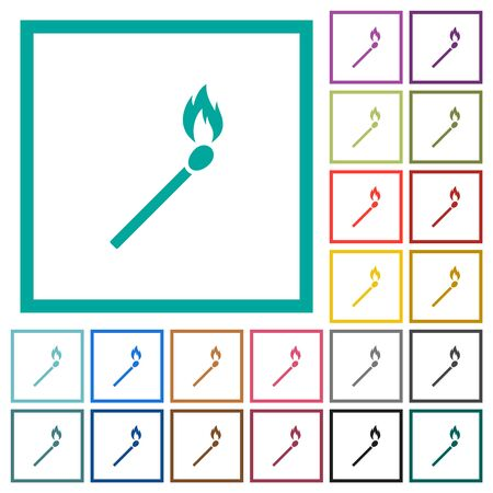 Matchstick flat color icons with quadrant frames on white background