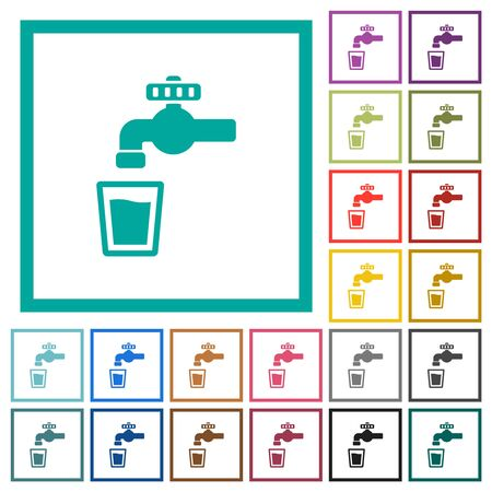 Drinking water flat color icons with quadrant frames on white background